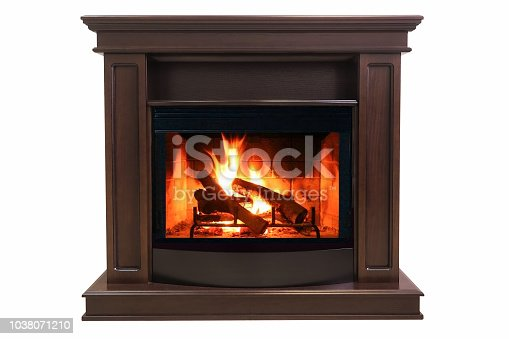istock Brown burning fireplace isolated on white background 1038071210