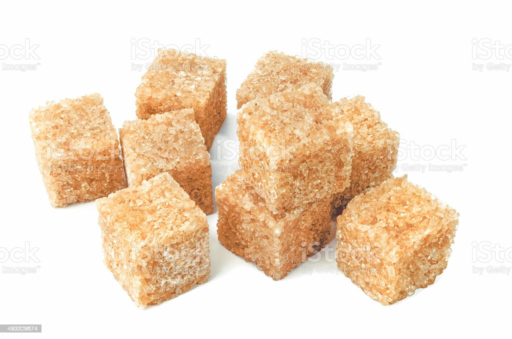 Brown cane sugar cubes stock photo