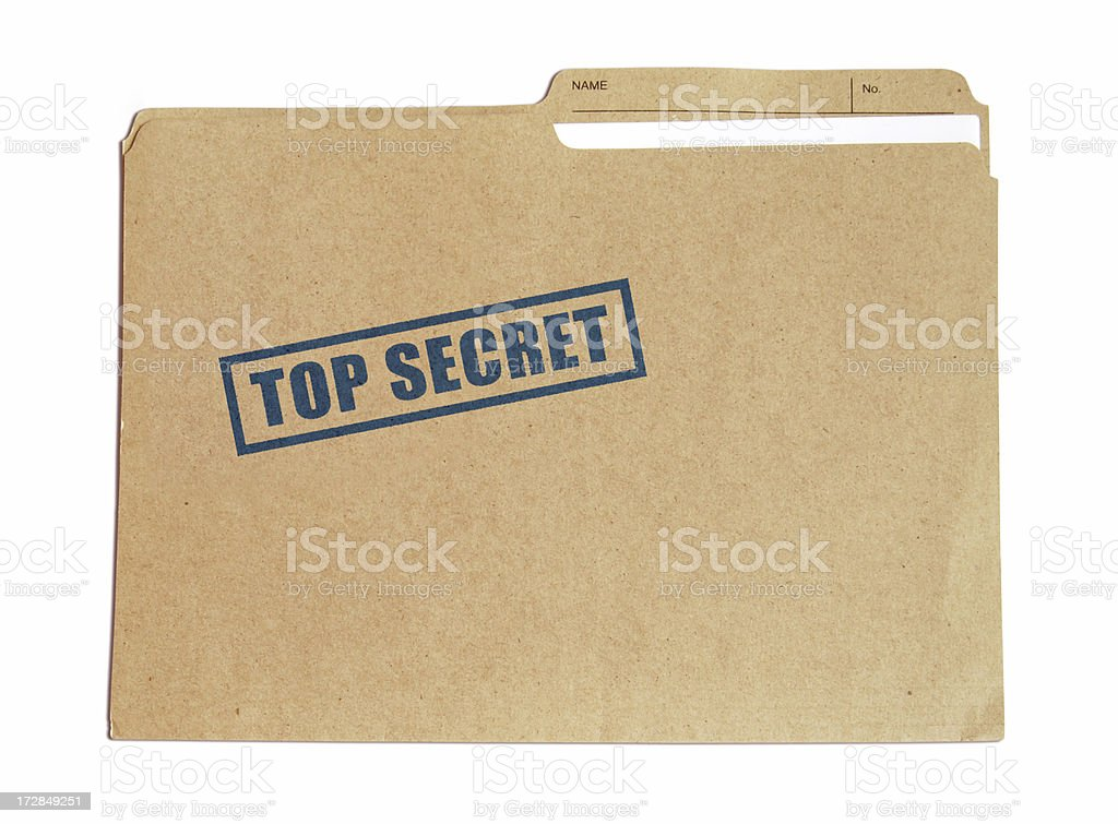 Brown card folder with top secret stamped on it in blue stock photo