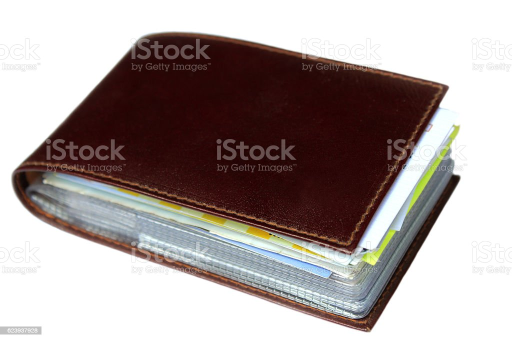 Brown card holder stock photo