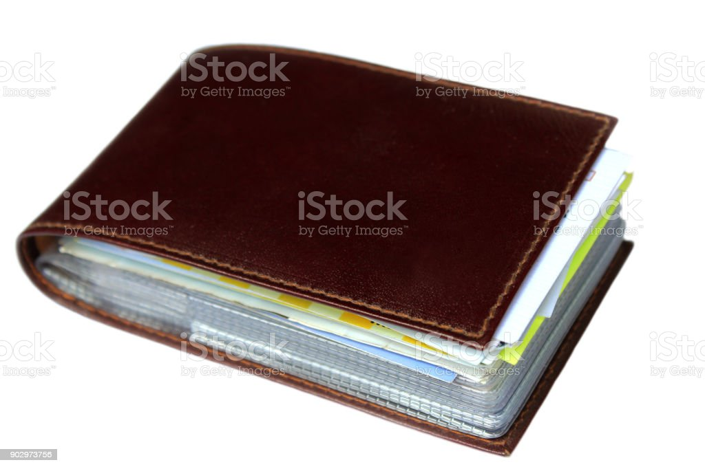 Brown card holder. stock photo