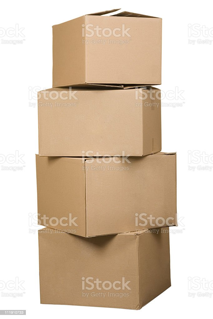 Brown cardboard boxes arranged in stack stock photo