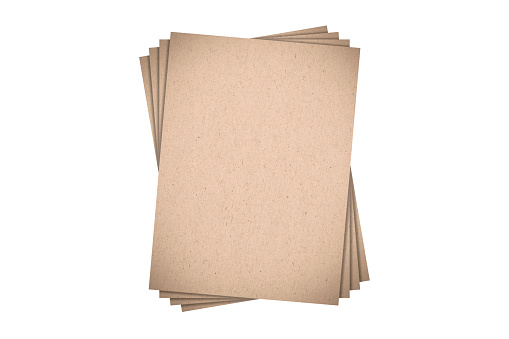 Brown cardboard isolated on white background. Natural rough cardboard texture. Mock up