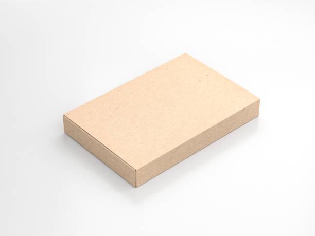 brun kartong smal box förpackningar mockup i ljus studio - remmar godis bildbanksfoton och bilder