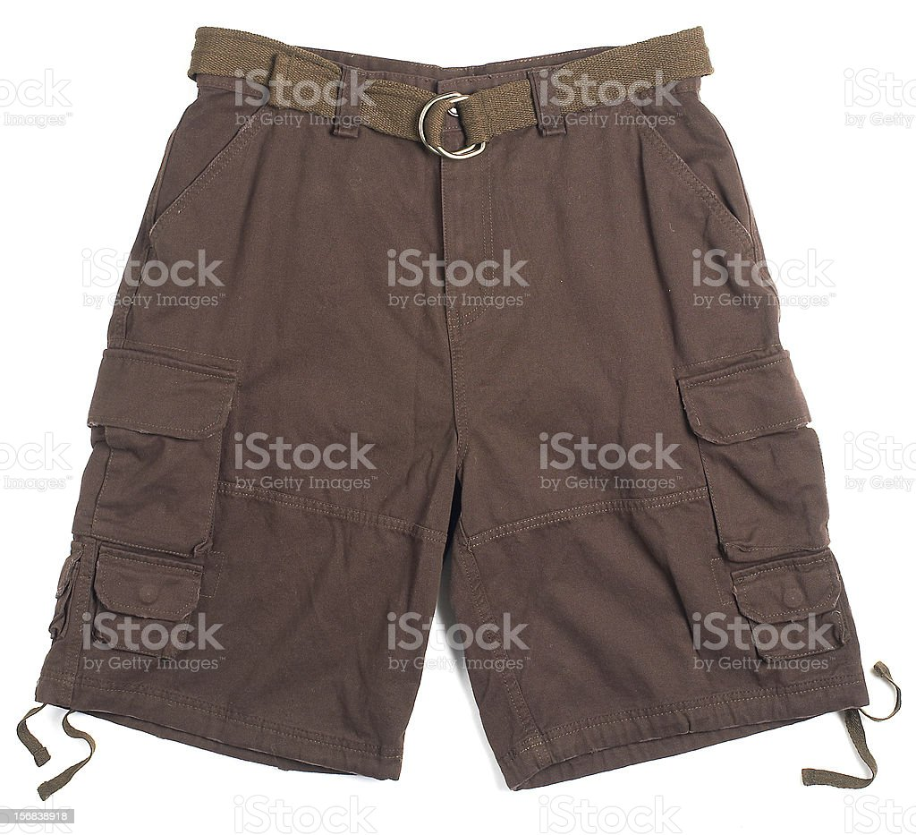 brown cargo shorts with a belt stock photo