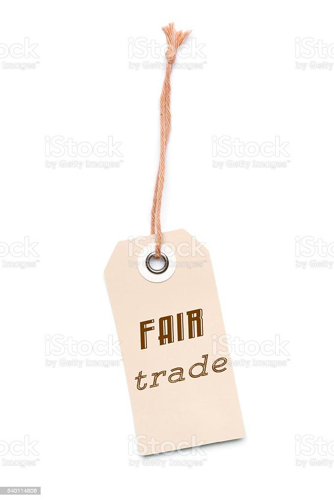 Brown Carton Fair Trade Label Tag Stock Photo - Download