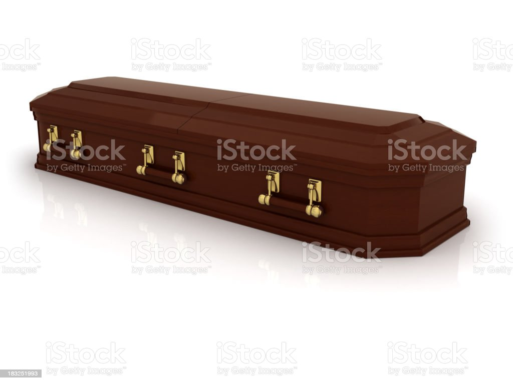 A brown casket on a white background stock photo