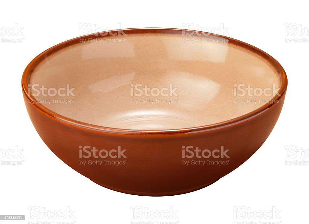 Brown Ceramic Bowl with a clipping path stock photo