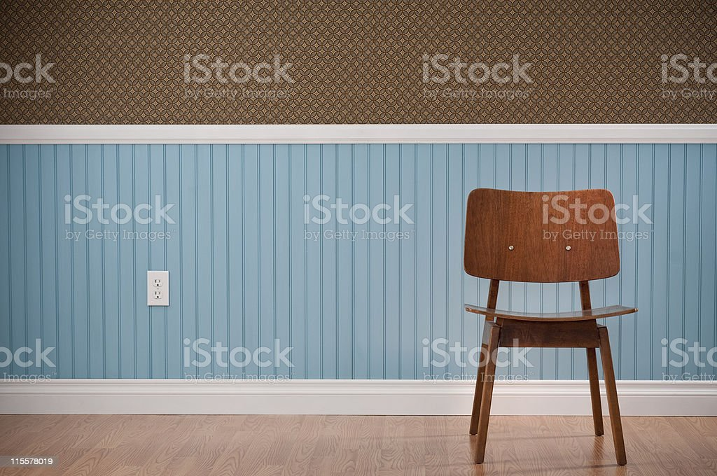Brown Chair In Empty Room stock photo