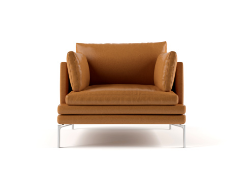 Render image of modern brown leather chair on white background.