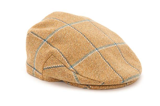 brown checked tweed hunting flat cap - schiebermütze stock-fotos und bilder