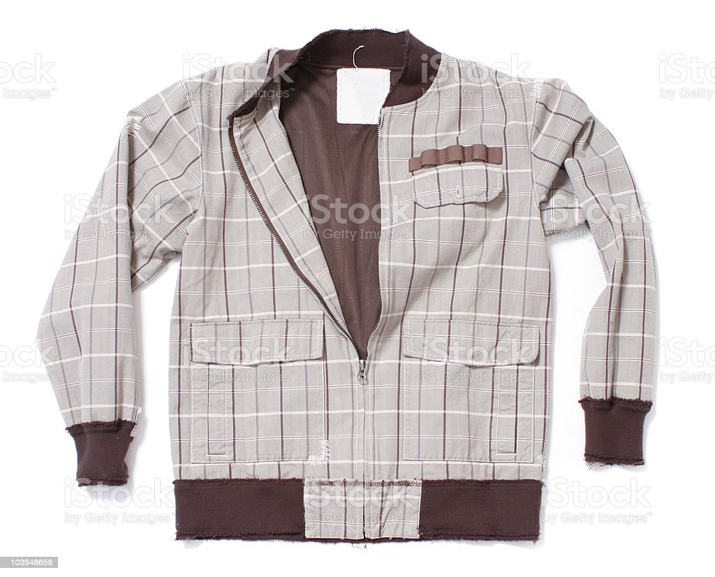 Brown Checkered Track Jacket on White Background royalty-free stock photo