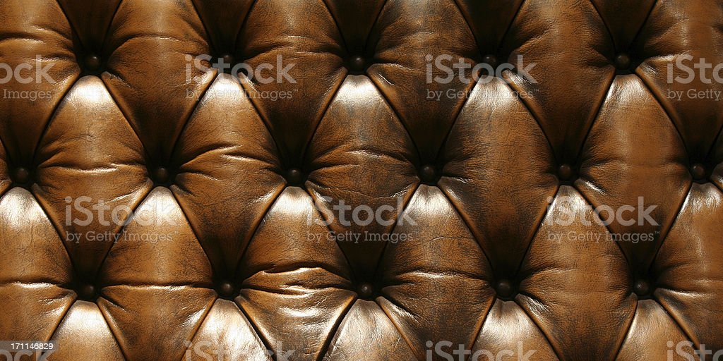 Brown Chesterfield couch, fragment of the back royalty-free stock photo