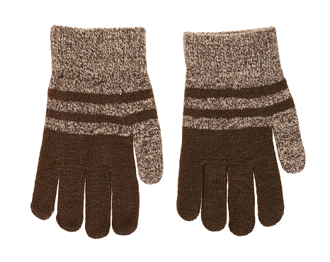 Brown child gloves isolated on white