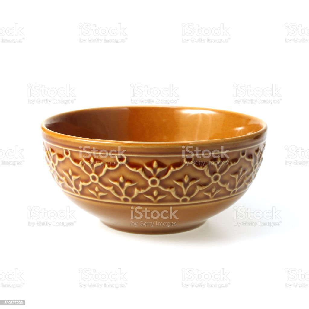 Brown clay bowl isolated on white stock photo