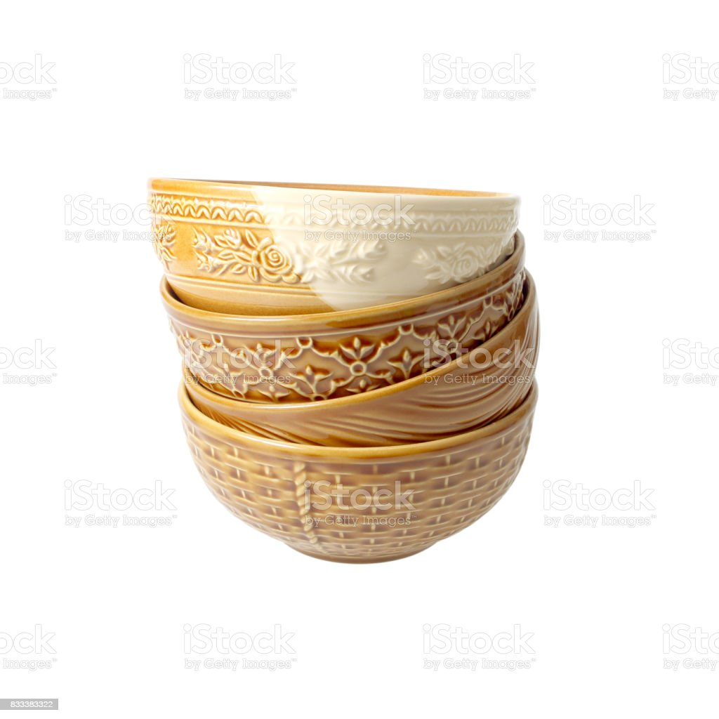 brown clay bowls overlap isolated on white background stock photo