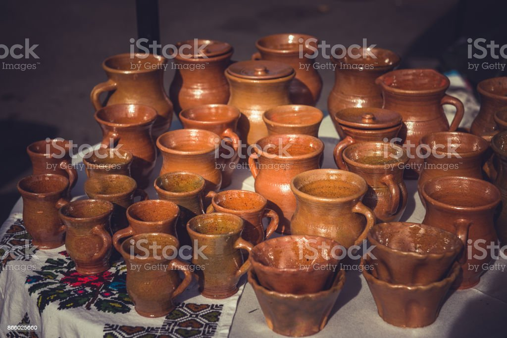 Brown clay pottery ceramics stock photo