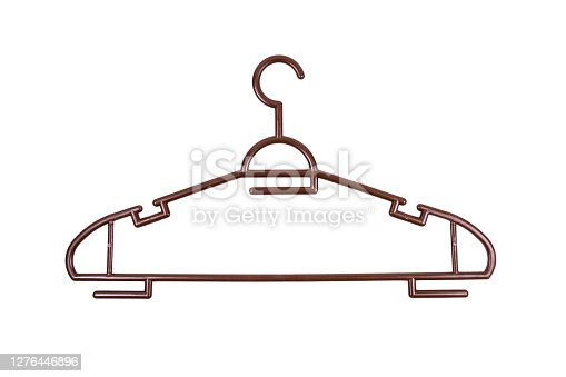 Brown clothes hanger made of plastic isolated on white background