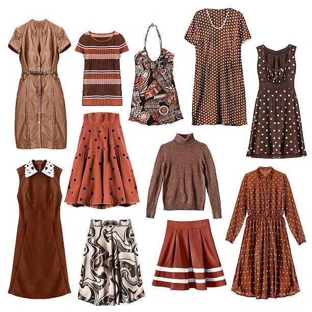 brown clothes isolated - damen rock braun stock-fotos und bilder