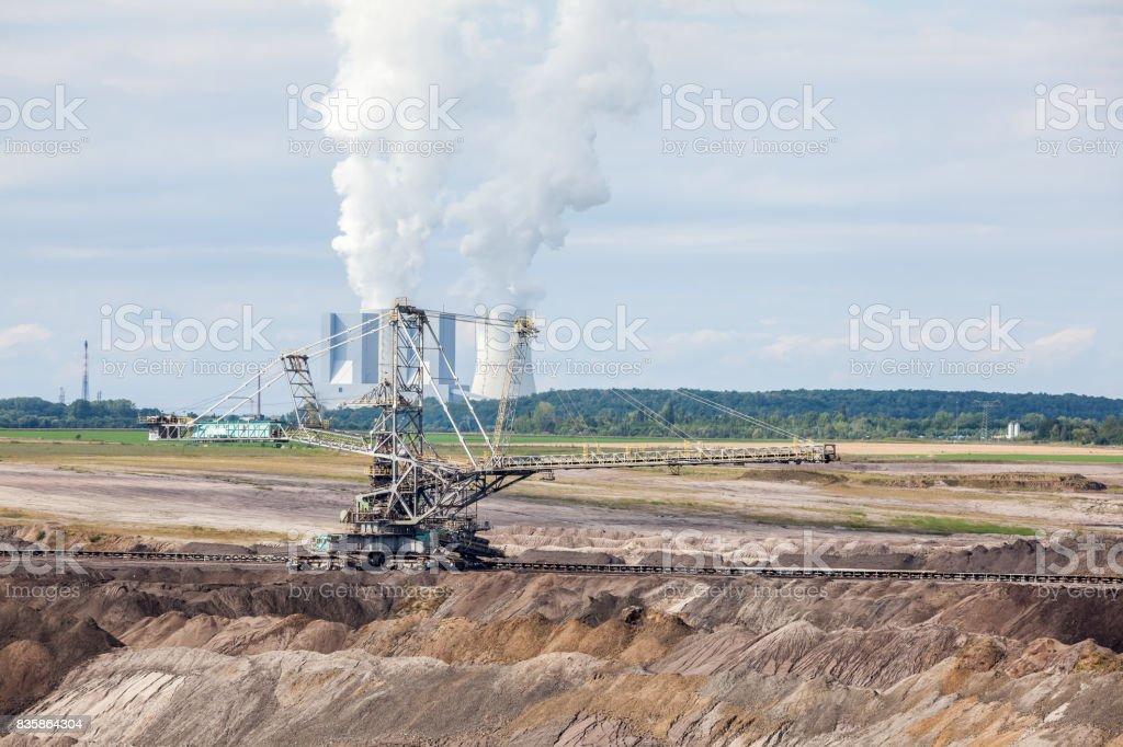 Brown coal mine stock photo