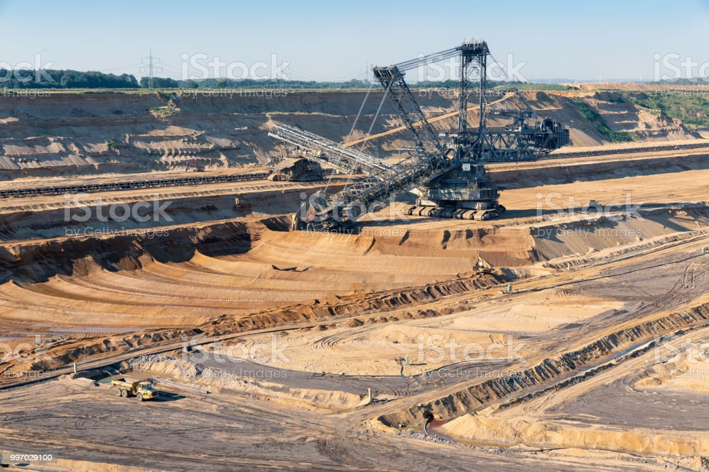 Brown Coal Open Pit Landscape With Digging Excavator In Germany Stock Photo Download Image Now Istock