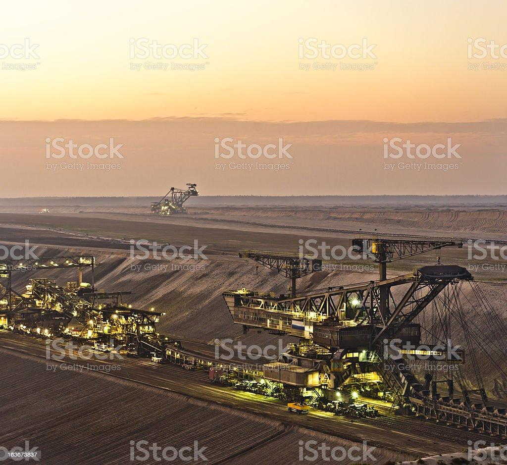 Brown coal opencast mining stock photo