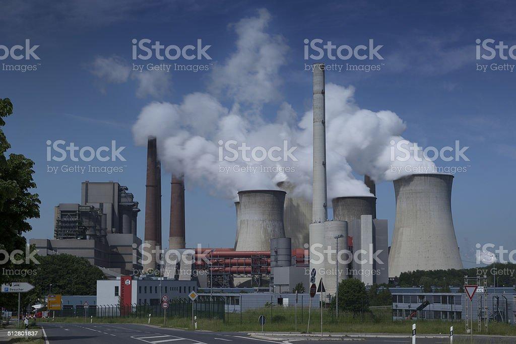 Brown coal power plant stock photo