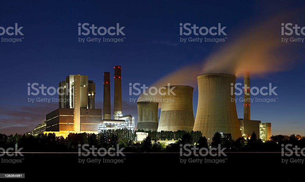 Brown Coal Power Station At Night royalty-free stock photo