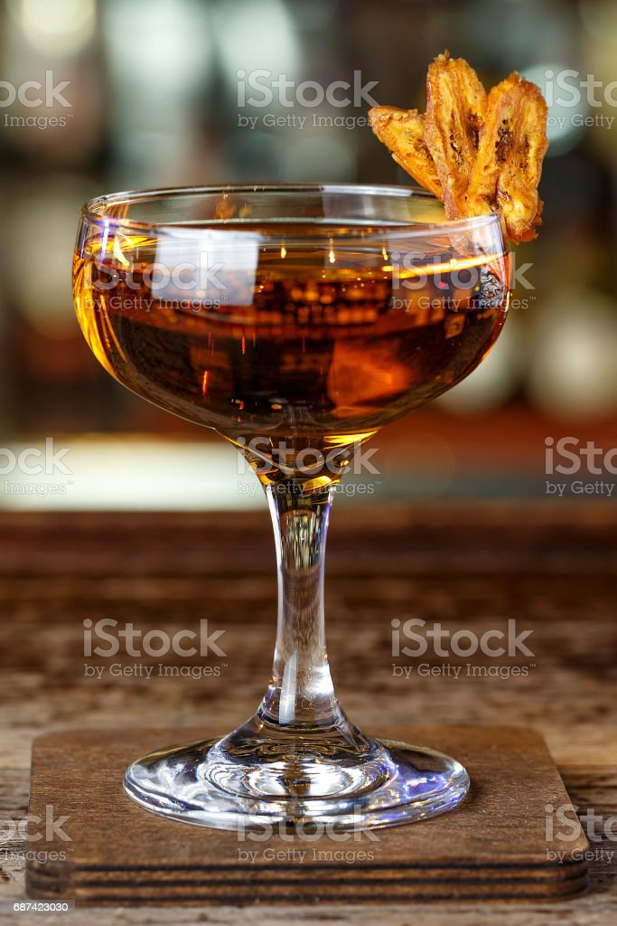 Brown cocktail with whiskey stock photo