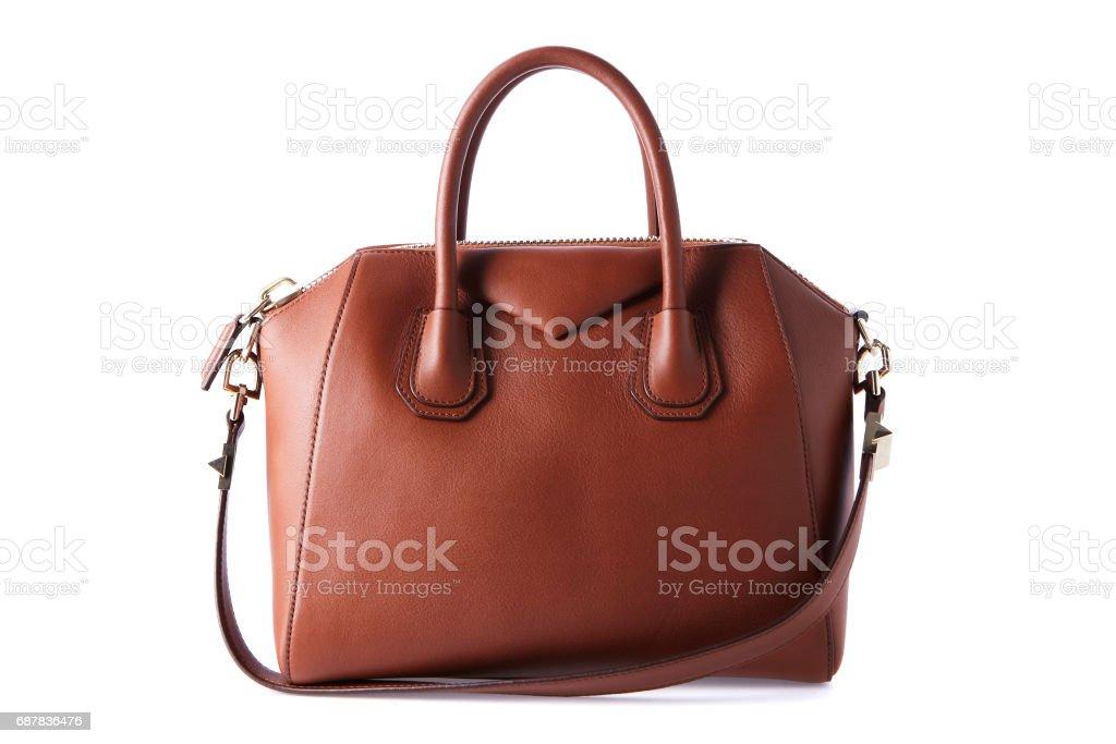 Braune Farbe Luxus Mode Tasche auf Hintergrund – Foto