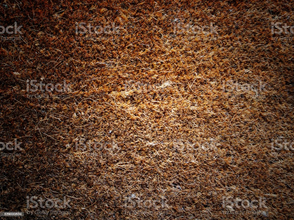 Brown color of mat made with Coconut husk. stock photo