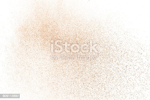 istock Brown Color powder splash cloud isolated on white background 909113892