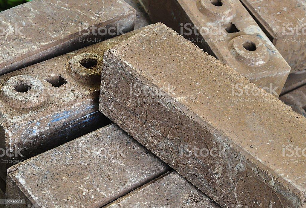 Brown concrete construction blocks stock photo