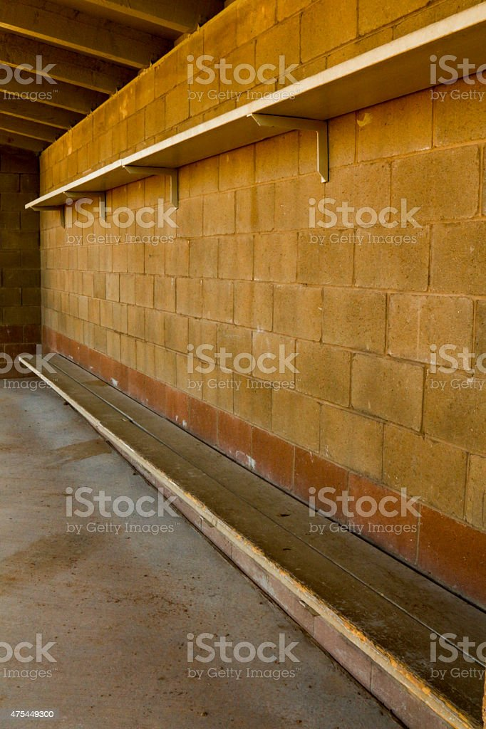 Miraculous Brown Concrete Dugout At A Baseball Field With Wooden Bench Stock Photo Download Image Now Ocoug Best Dining Table And Chair Ideas Images Ocougorg