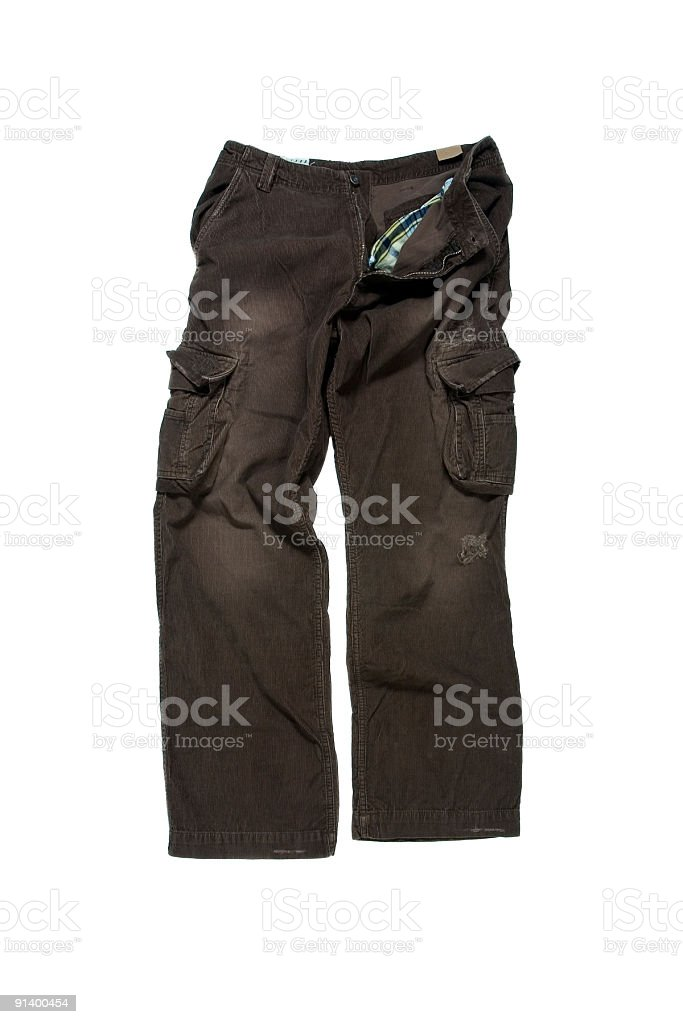 Brown Corduroy Cargo Pants on White Background stock photo
