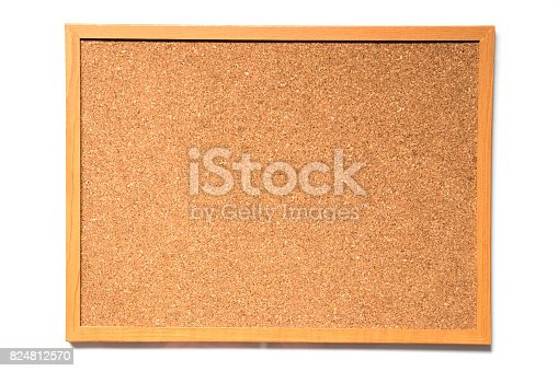 990092558 istock photo Brown cork board with wood frame on white background 824812570