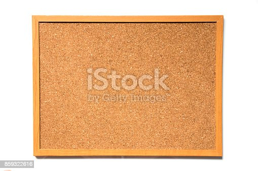 990092558 istock photo Brown cork board with wood frame on white background 859322616