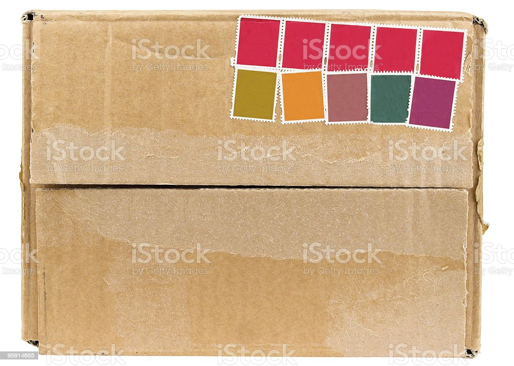 Brown Corrugated Cardboard Box Front With Blank Stamps stock photo