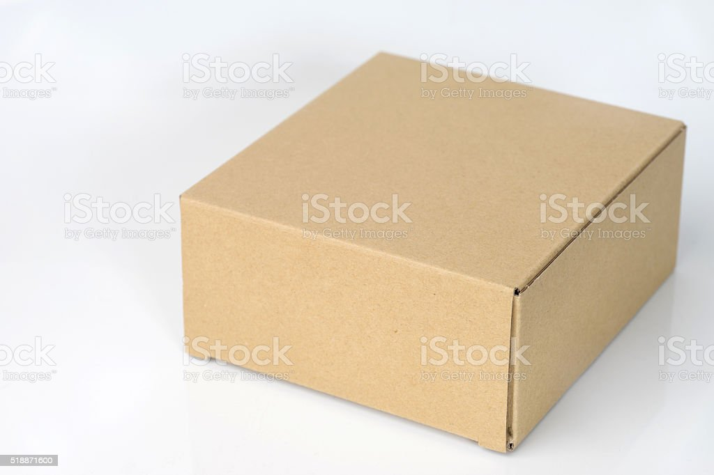 brown corrugated paper box stock photo