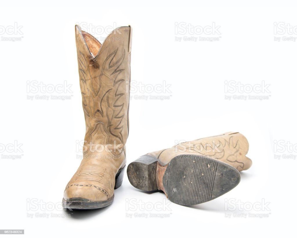 5ad50537d08 Brown Cowboy Boots Isolated On A White Background Stock Photo   More ...