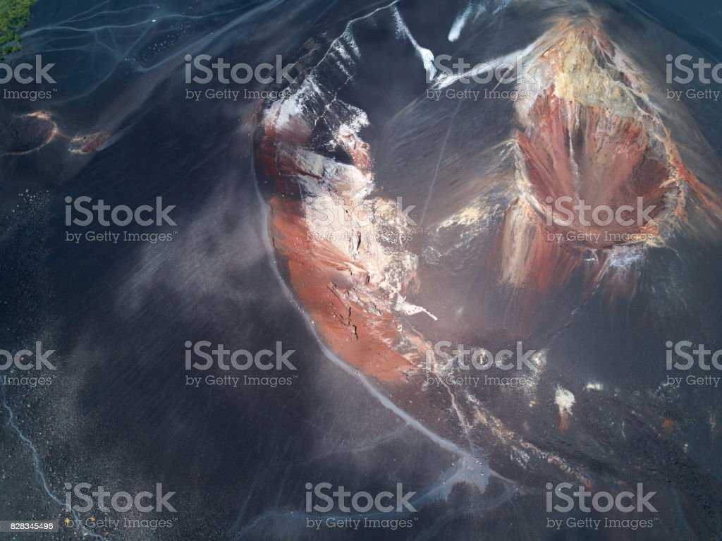 Brown crater of active volcano stock photo
