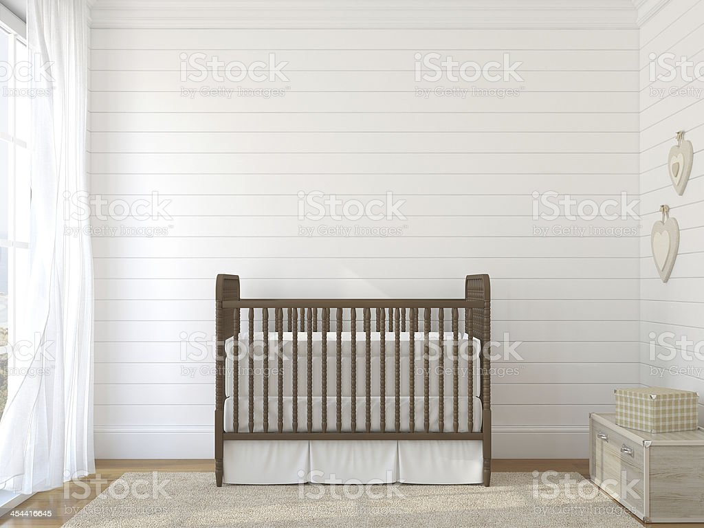 Brown Crib Against White Brick Wall Near Window Stock Photo Download Image Now Istock