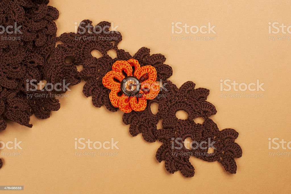 Brown Crocheted Scarf royalty-free stock photo