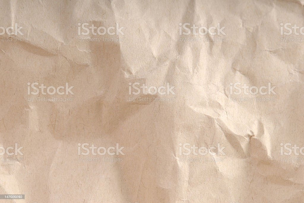 Brown crumpled paper royalty-free stock photo