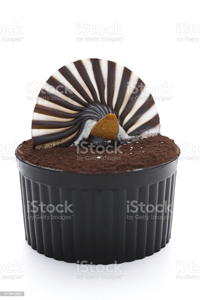 brown cup cake with chocolate on white stock photo