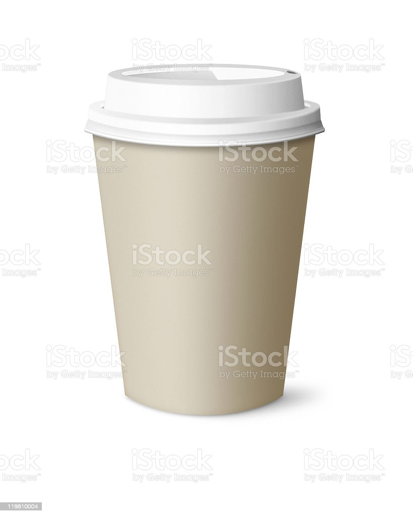 Brown cup with white lid against white background stock photo