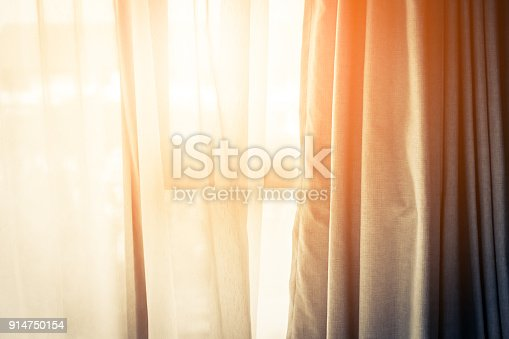 istock Brown Curtain with Beautiful Sun Light and Shadow 914750154