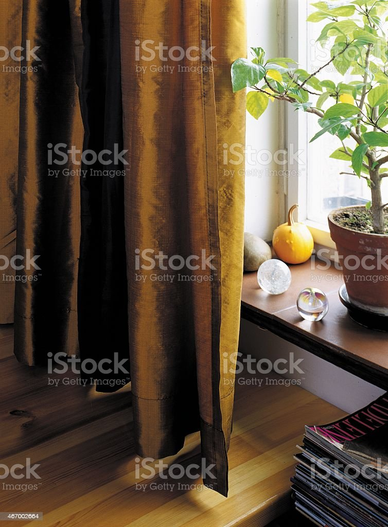 brown curtains stock photo