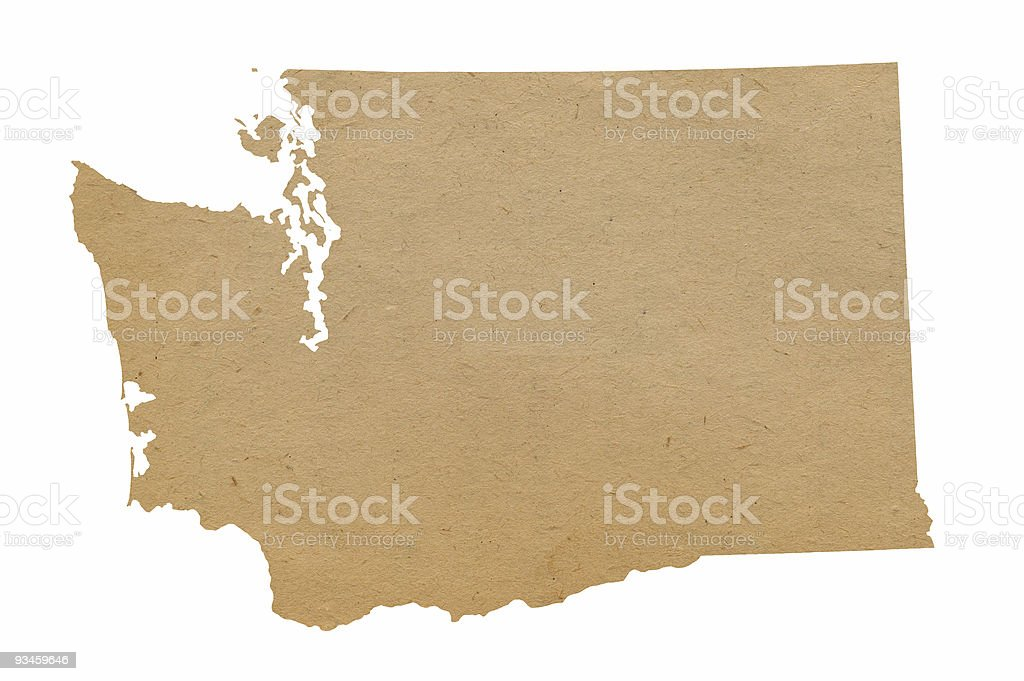Brown cut out of Washington state stock photo