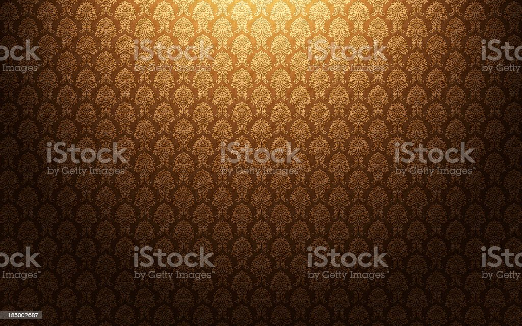 Brown damask wallpaper background stock photo